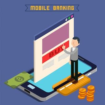 Mobiel bankieren. online betaling. geldtransactie. borg. financiering van investeringen. internetbankieren.