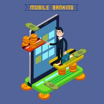 Mobiel bankieren. online betaling. geldtransactie. borg. financiering van investeringen