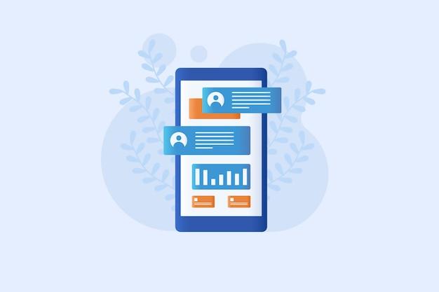 Mobiel bericht illustratie vlakke stijl ontwerp