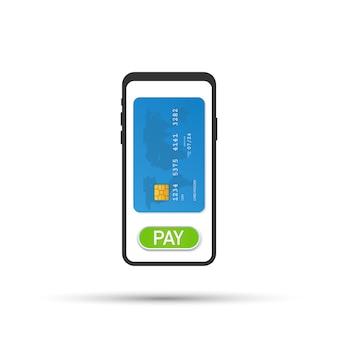 Mobiel betalen, betaling voor diensten, winkelen en entertainment. vector illustratie
