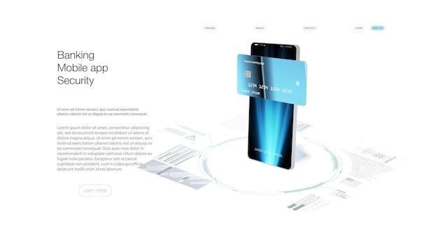 Mobiel betalen met nfc-technologie en betalingsbeveiliging op hoog niveau. draadloze geldtransactietechnologie en geldopslag. portemonnee met kaarten ui app en e-betaling. vector internetbankieren app.