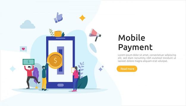 Mobiel betalen of geldoverdracht concept voor e-commerce markt online winkelen illustratie met kleine mensen karakter. sjabloon voor web-bestemmingspagina, banner, presentatie, sociale media, gedrukte media