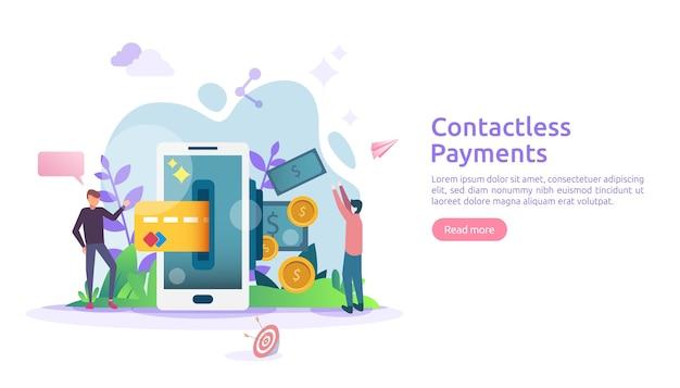 Mobiel betalen of geldoverdrachtconcept. contactloze, draadloze of contante betalingen met banner van de nfc-technologie van de smartphone