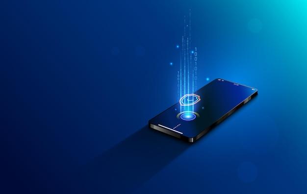 Mobiel betalingsconcept isometrisch. beveiliging en bescherming contactloos
