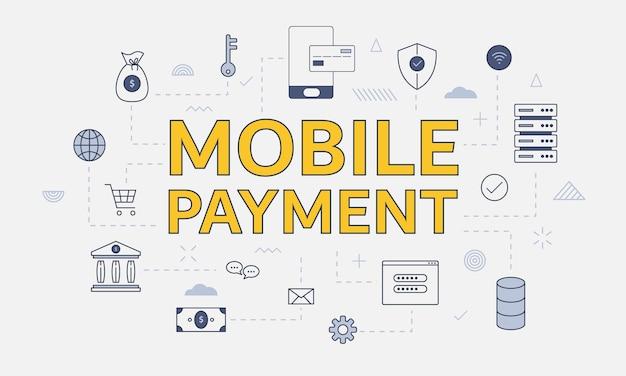 Mobiel betalingsconcept met pictogrammenset met groot woord of tekst op centrum vectorillustratie