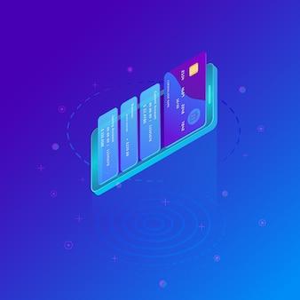 Mobiel betalingsconcept, smartphone met verwerking van mobiele betalingen van creditcard.