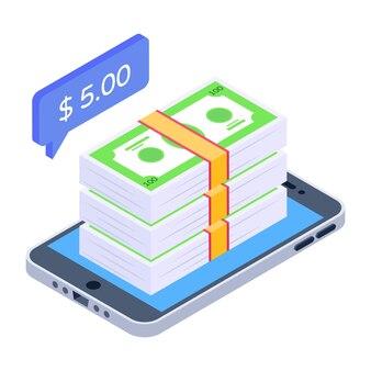 Mobiel contant isometrisch pictogram e betaling