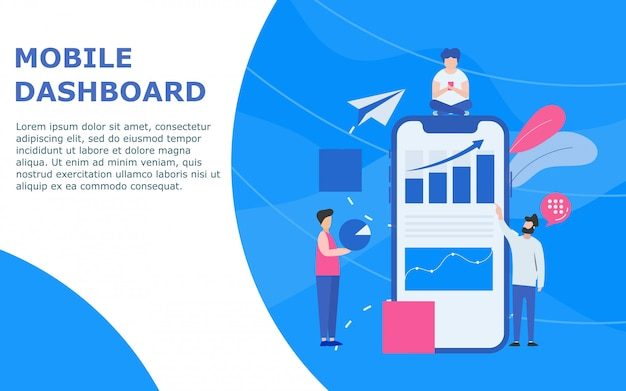 Mobiel dashboard en statistiekensjabloon