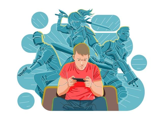 Mobiel gamen, spelletjes spelen met smartphoneconcept
