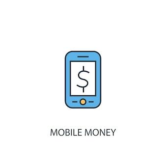 Mobiel geld concept 2 gekleurde lijn icoon. eenvoudige gele en blauwe elementenillustratie. mobiel geld concept schets symbool ontwerp