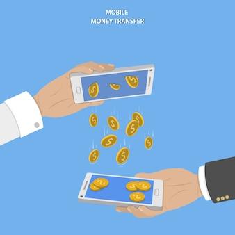 Mobiel geld overdracht concept.