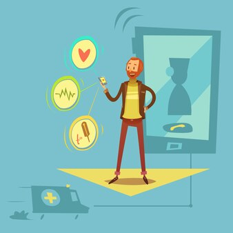 Mobiel gezondheids kenmerkend concept met gezondheid en van het geneeskundesymbolen beeldverhaal vectorillustratie