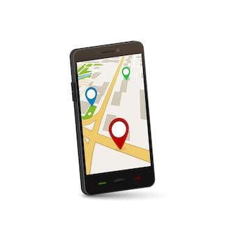 Mobiel gps-navigatieconcept. 3d-kaarttoepassing voor stadsgps.