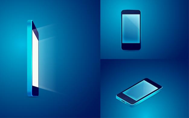 Mobiel in blauw