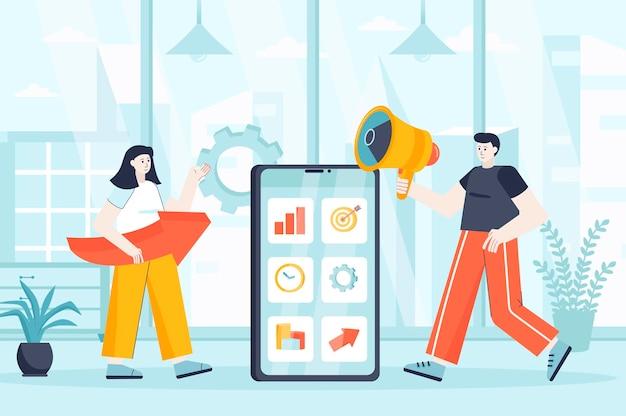 Mobiel marketingconcept in vlakke ontwerpillustratie van personenkarakters voor bestemmingspagina