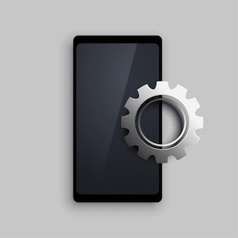 Mobiel met 3d-instelling metalen versnelling achtergrond