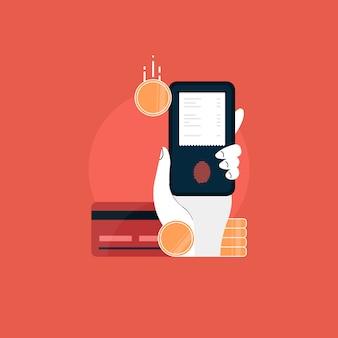 Mobiel met elektronische factuur. online betalingsconcept. betalingen via internet met kaart, internetbankieren en e-wallets en betalingsbewijs