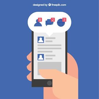 Mobiel met facebookmeldingen