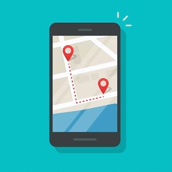Mobiel met pinpointers van de stadsplattegrond en de richting van de baan