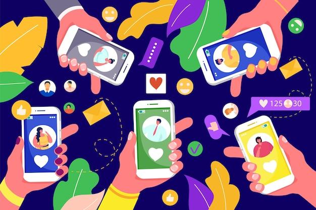 Mobiel met sociale media technologie, vectorillustratie. persoon karakter hand houden telefoon met internet, online communicatie in netwerk. digitale marketing in smartphone, berichtpictogramreeks.