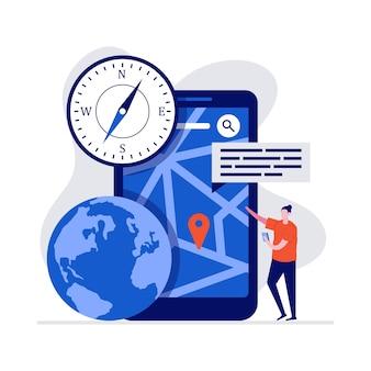 Mobiel navigatieconcept met karakter, grote smartphone, gps-pin en kaart.