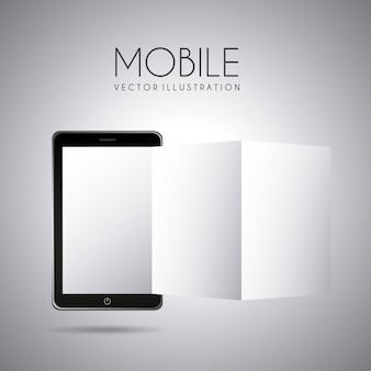 Mobiel ontwerp over grijze achtergrond vectorillustratie