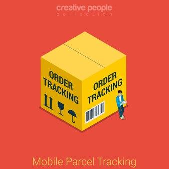 Mobiel pakket volgen plat isometrisch