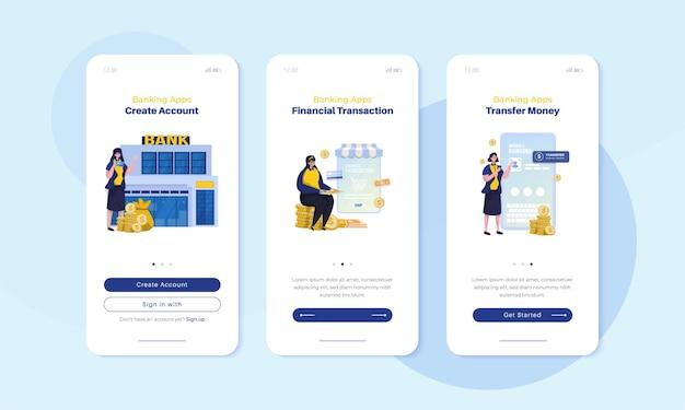 Mobiel scherm aan boord met afbeelding van bankapp voor gebruikersinterfaceconcept