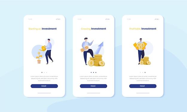 Mobiel scherm aan boord met bedrijfsinvesteringen en financieel illustratieconcept