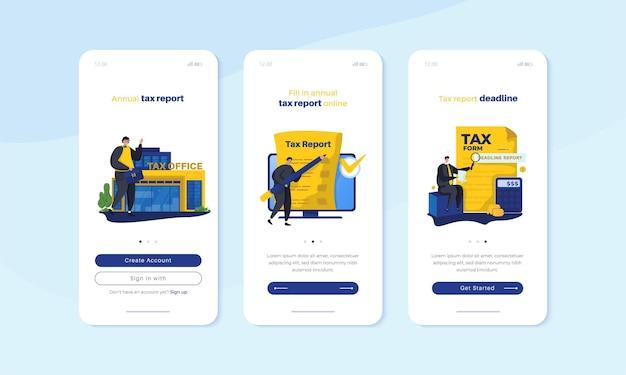 Mobiel scherm aan boord met jaarlijks belastingrapport illustratie set concept