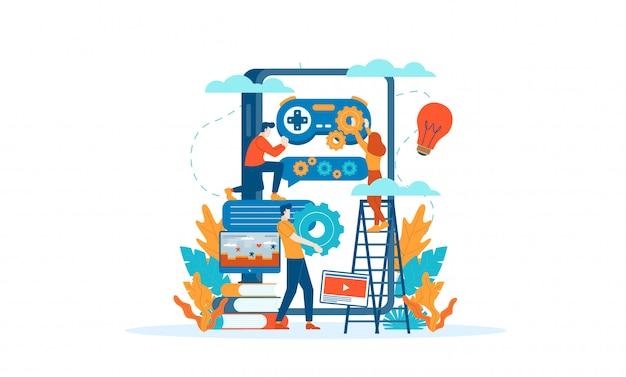 Mobiel spel dat vlak illustratieconcept ontwikkelt