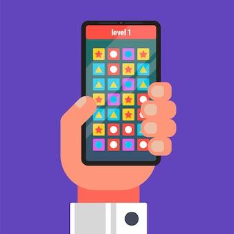 Mobiel spel op de telefoon. figuren op een rij tekenen. vlak