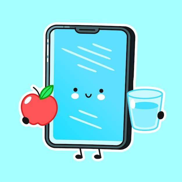 Mobiel telefoonkarakter met appel en waterglas