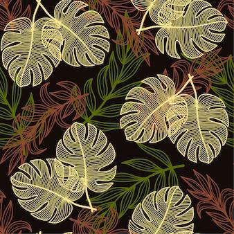Mobiel trendy naadloos tropisch patroon met kleurrijke planten en bladeren op een donkerbruine achtergrond