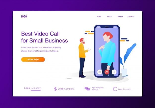 Mobiel videoconferentieillustratieconcept voor website of landende pagina