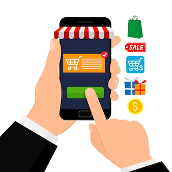 Mobiel winkelen. mobiele marketing. app winkel. illustratie pictogram. vlakke stijl