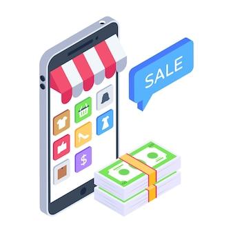 Mobiel winkelen verkoop isometrisch pictogram downloaden