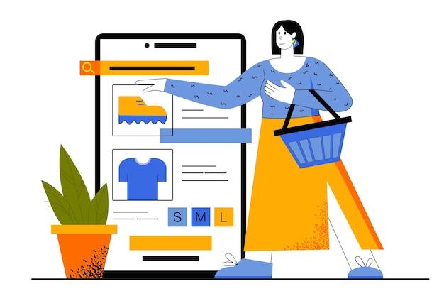 Mobiel winkelen webconcept. koper doet aankopen op de website van de winkel. vrouw kiest kleding en schoenen en betaalt in mobiele applicatie.