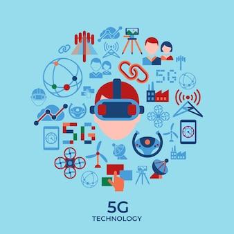 Mobiele 5g-technologie en verzameling netwerkpictogrammen