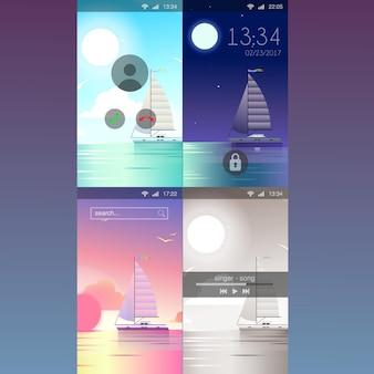 Mobiele achtergrond jacht oceaan zeewater schilderachtige vlakke stijl