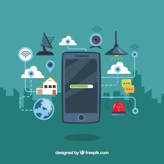Mobiele achtergrond met elementen verbonden met internet