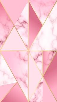 Mobiele achtergrond met marmeren effect en roze geometrische vormen