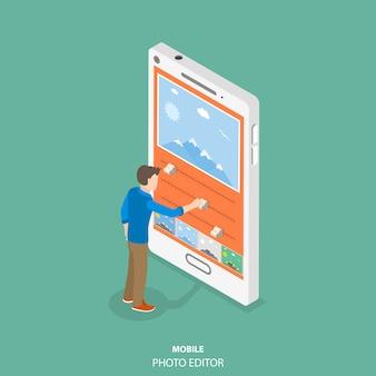 Mobiele afbeeldingseditor plat isometrische concept.