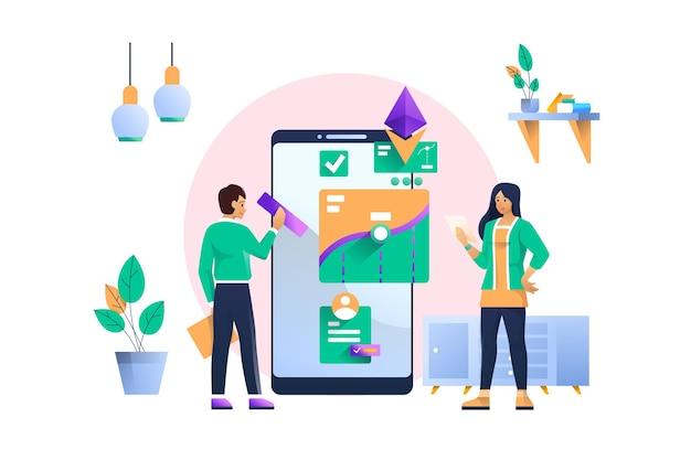 Mobiele analyse concept illustratie