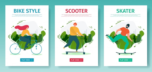 Mobiele app bestemmingspagina-set biedt outdoor-activiteiten met gebruik van eco-transport