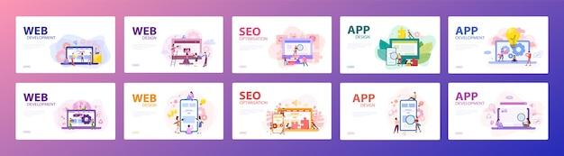 Mobiele app en webontwikkeling banner concept set. programmeer-app voor digitaal apparaat. creëren interface voor gebruiker. illustratie in stijl