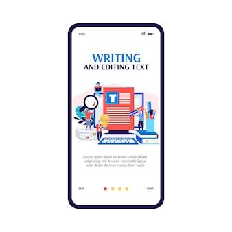 Mobiele app-interface op telefoonscherm voor tekstschrijver of blogger a.