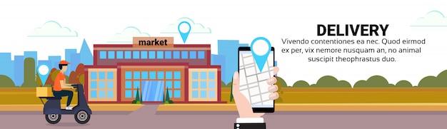Mobiele app levering man rijden scooter vak concept markt geo tag bestemming snel gratis vervoer
