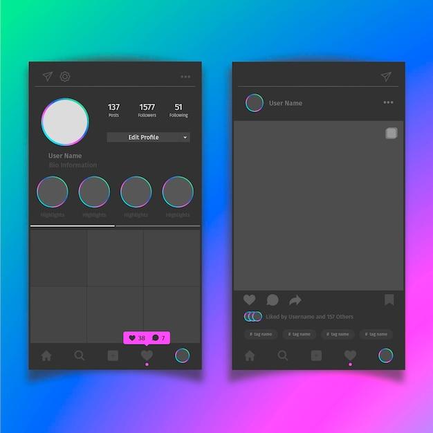 Mobiele app met tegelsjabloon voor instagram-foto's