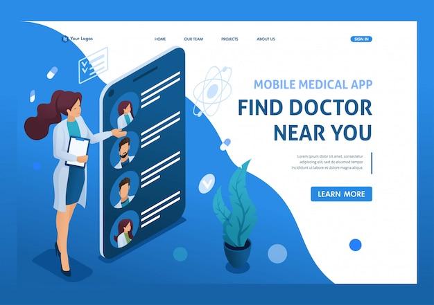 Mobiele app om artsen bij u in de buurt te zoeken. gezondheidszorg concept. 3d isometrisch. landingspagina concepten en webdesign